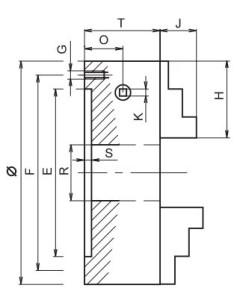 3 ayaklı torna aynası teknik ölçüler